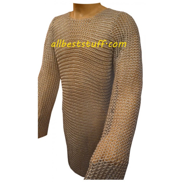 Chainmaille Hauberk Butted Long Sleeve Aluminum Rings Chest 50