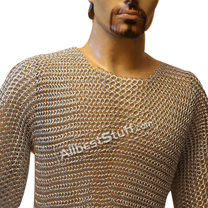 Steel Butted Chain Mail Hauberk XXL Long Chest 52