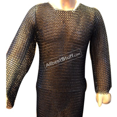 Steel Chain Mail Shirt Butted Full Sleeve Heavy Comfort Fit Chest 48