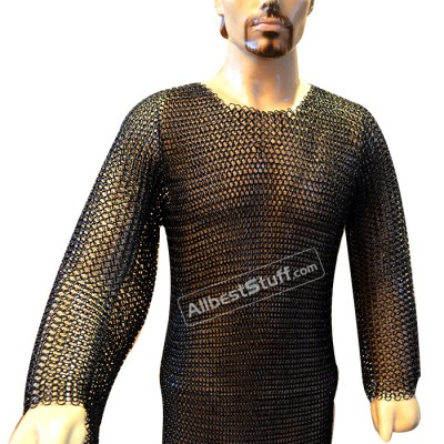 XL Butted Chain Mail Hauberk Full Sleeve Heavy Chain Mail Chest 48