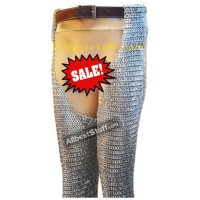 Flat Riveted Flat Solid Chain Mail Legging 9 MM Large Sale