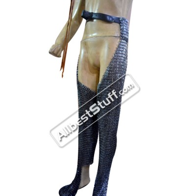Wedge Riveted with Alternating Solid Chainmail Legging Length 35