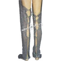 Flat Riveted Flat Solid Chain Mail Legging Back Slit