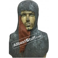 6 MM Flat Riveted alternating Solid Chain Maille Hood