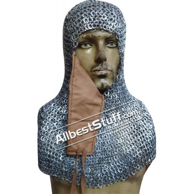 8 mm Flat Riveted Flat Solid Ring Chain Mail Hood