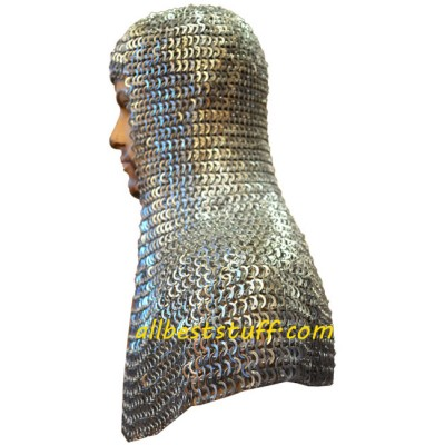 Flat Riveted Flat Solid Aluminum Chain Mail Hood