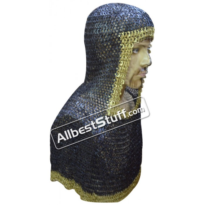 Flat Riveted Solid Maille Coif Steel Brass Trim