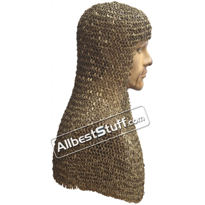 Original Brass Chain Mail Hood Exclusive Round Riveted Rings