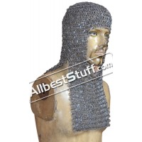 Round Riveted Medieval Maille Hood Rectangle Shape
