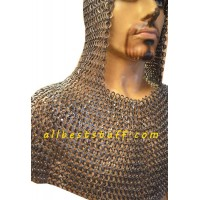 Heavy duty 16 Gauge 8 mm Round Riveted Flat Solid Chain Mail Hood
