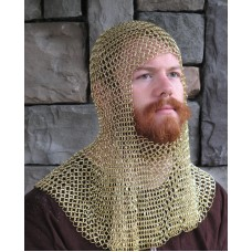 Original Brass Chain Mail Coif Exclusive Butted Brass Hood