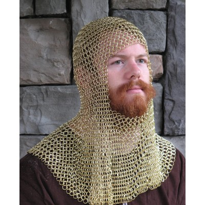 Chain Mail Coif Solid Brass Butted Hood