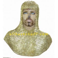 Original Brass Chain Mail Coif Exclusive Flat Riveted Brass Hood