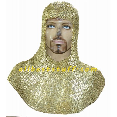 Solid Brass Maille Coif Exclusive Flat Riveted Brass Hood