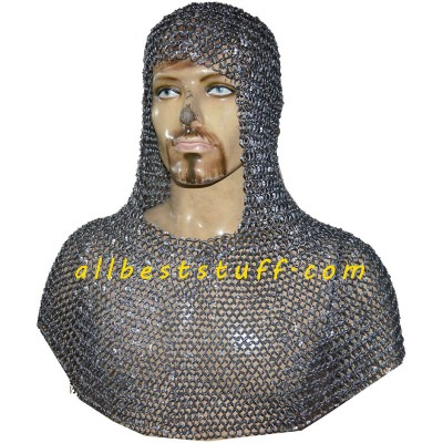 9 mm Round Riveted Medieval Chain Mail Hood Heavy 16 Gauge