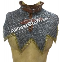 8 MM Flat Dome Riveted with Solid Ring Steel Maille Collar