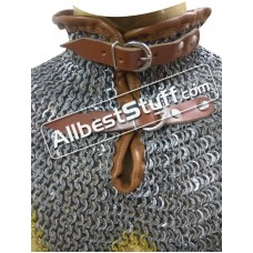 8 MM Full Flat Dome Riveted Maille Collar Steel