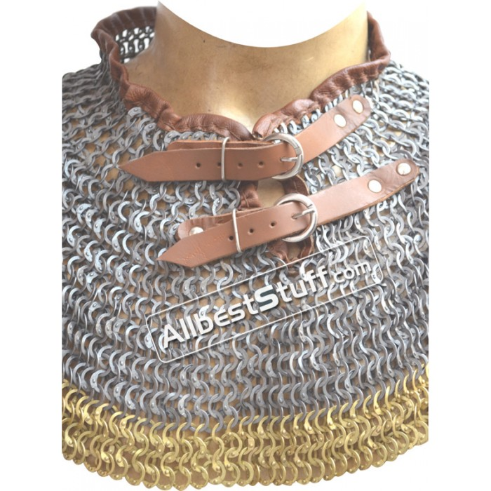 Chain Mail Collar Flat Wedge Riveted Alternating Solid