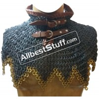 Round Riveted with Alternating Solid Ring Maille Collar