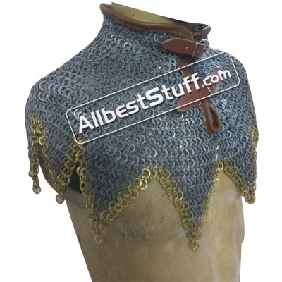 Chain Mail Collar Flat Riveted with Alternating Solid Ring