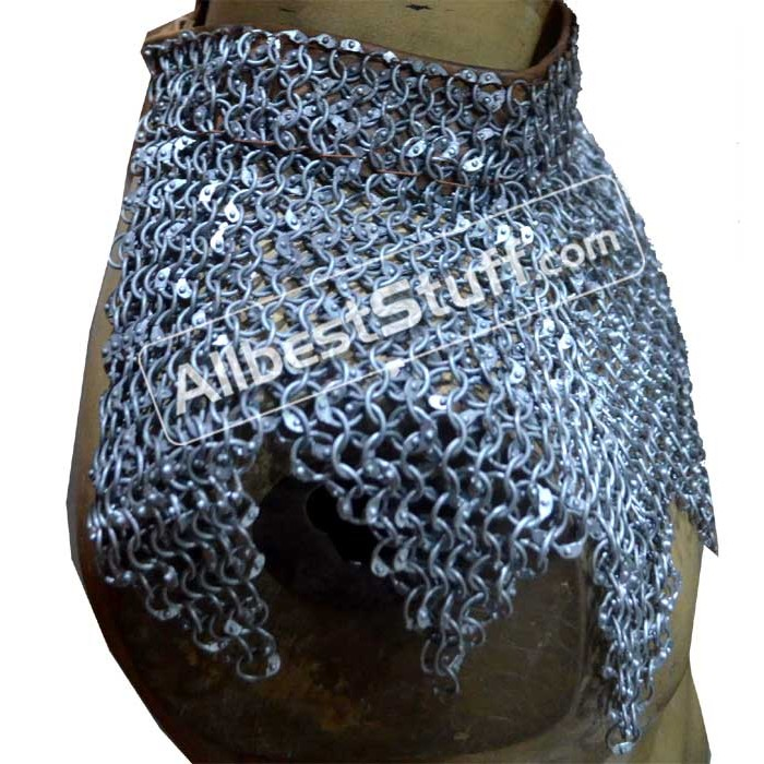 Round Riveted Aluminum Chain Mail Collar Small