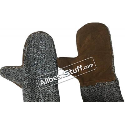 6 mm Round Riveted Leather Chain Mail Mittens