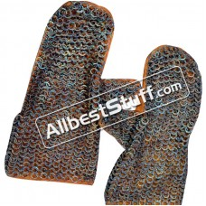 Flat Riveted Titanium Chain Mail Mittens