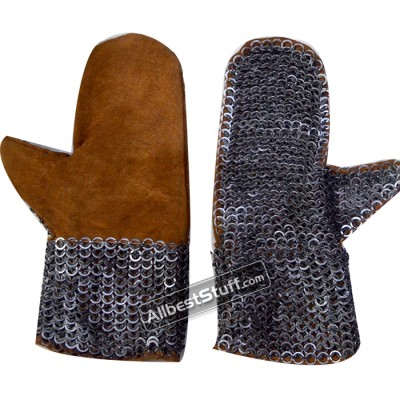 Flat Riveted Solid Ring Leather Chain Mail Mittens