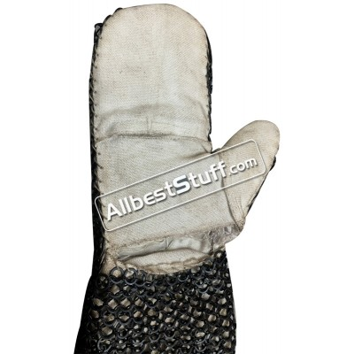 Padded Linen stitched pair of Maille Mittens