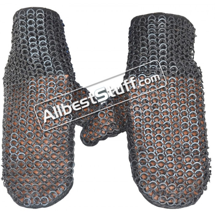 Reinforced Mittens Flat Riveted Solid Ring 6 mm Leather Maille