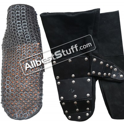 Stainless Steel Maille Mittens with 5 mm Reinforced Leather