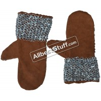 Round Riveted Leather Chain Mail Mittens