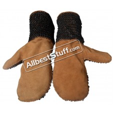 Full Flat Dome Riveted Ring Leather Chain Mail Mittens