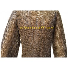 40 inch Chest Chain Mail Hauberk Flat Dome Riveted Sleeve 22