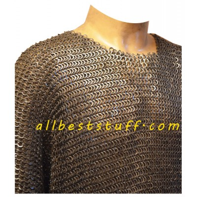 SALE! Maille Hauberk Flat Riveted with Solid Ring 8mm Chest 44