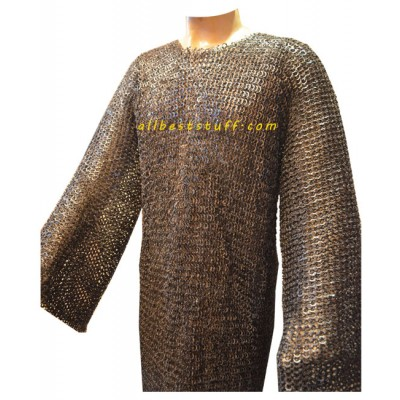 9 mm Hauberk Large Flat Dome Riveted Maille Chest 48