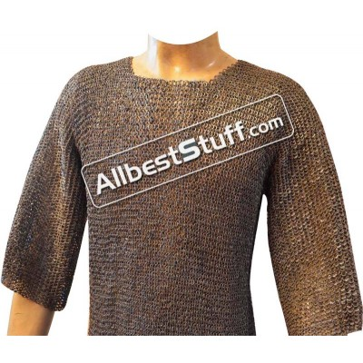 Chain Mail Hauberk Long Length Full Sleeve Chest 40 inches