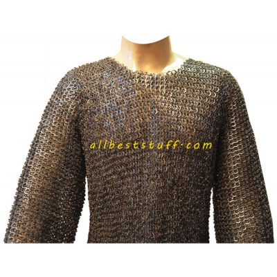 8 MM Flat Riveted Maille Full Sleeve Shirt Chest 35 inches