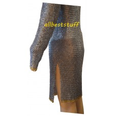 Chain Mail Shirt One Flat Riveted Ring with Alternate Solid Ring Pattern Zinc Coated Brass Rings