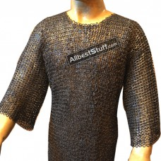 54 Chest Chain Maille Hauberk 8 mm Flat Solid Long Sleeve