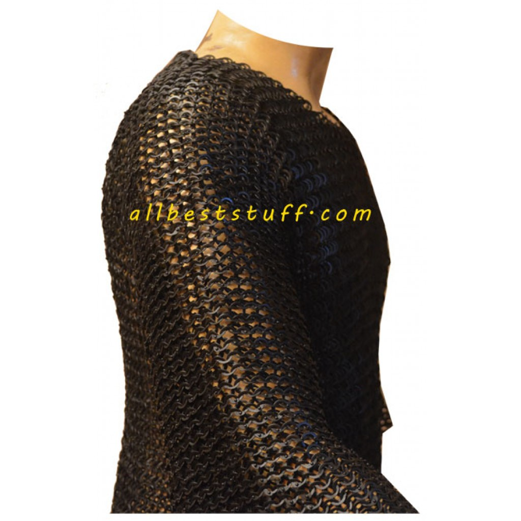 Chain Maille Hauberk 8 mm Flat Solid Riveted Chest 40 Long