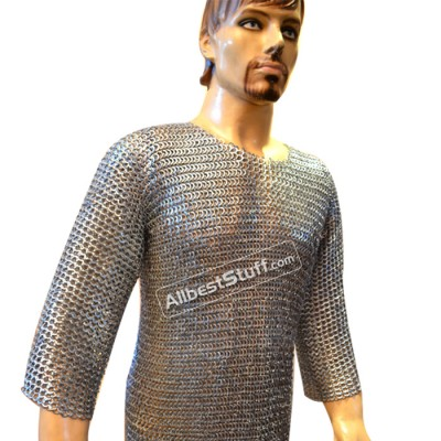 Hand Made Maile Armour Flat Riveted Solid 9 mm Hauberk Chest 44