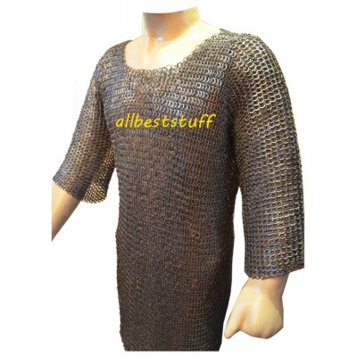 Long Flat Riveted Chain Mail Hauberk Full Sleeves 16 Gauge Chest 44