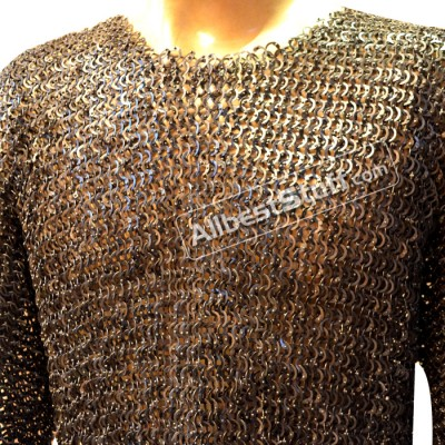 Medieval Chain Mail Armour Flat Riveted Maille Chest 44