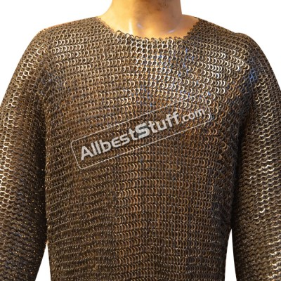 Medieval Chain Mail Armour Flat Riveted Maille Hauberk Chest 44