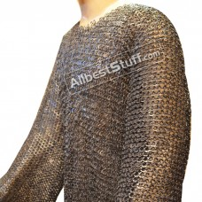XL Chain Mail Hauberk Flat Riveted Long Chest 48