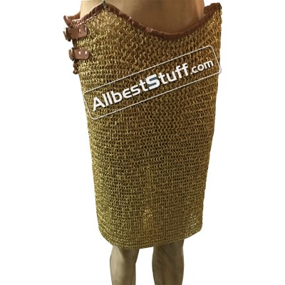 Brass Maille Full Flat Riveted Brass Lacquered Chain Mail Skirt