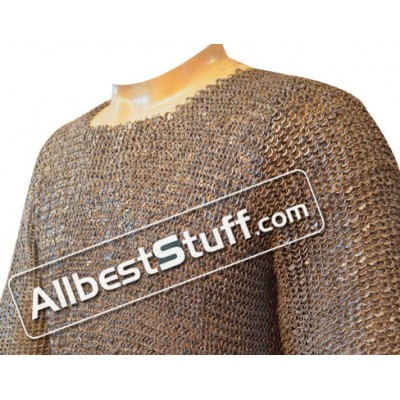 Chain Mail Shirt Chest 48 Round Riveted Flat Solid