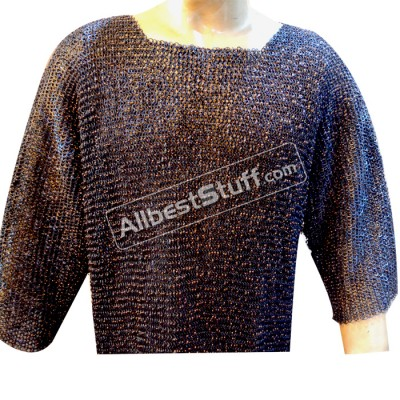 Full Round Copper Riveted Chain Mail Shirt in 9 mm, Ring Gauge 16