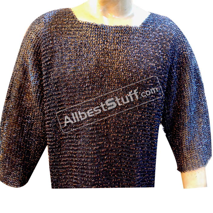Full Round Copper Riveted Chain Mail Shirt in 9 mm, Ring Gauge 16 MM